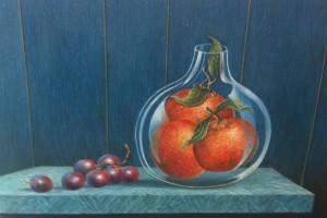 Schilderij mandarijnen - druiven (30 x 40 cm)