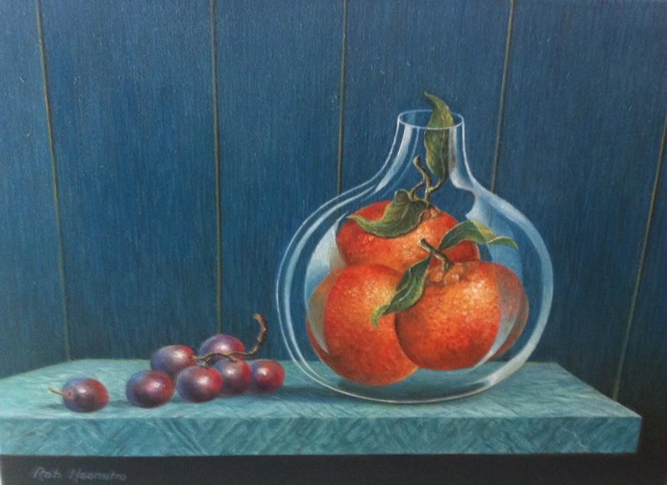 Schilderij mandarijnen - druiven